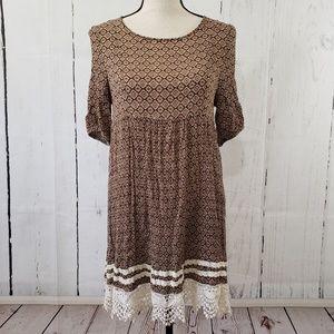 Easel Brown Boho Lace Floral Dress